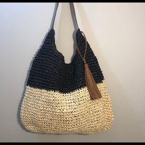 Straw Studios Large Tan & Black Wicker Bag Tassel